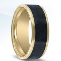 14kt Yellow Gold Wedding Band NT17384-8-FYCF with Carbon Fiber Inlay
