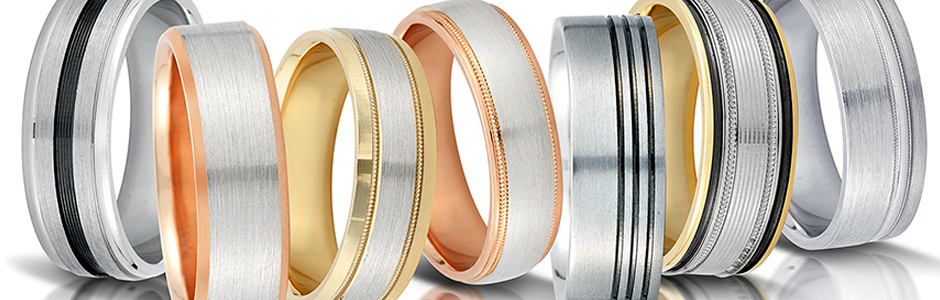 Yellow, pink and white gold wedding bands by Novell.