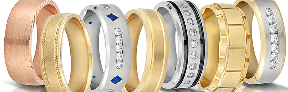 Novell wedding bands with gold and diamonds.