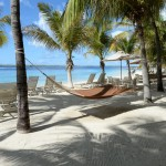 beachside hammocks and chairs - perfect for lounging at Harbour Village in Bonaire