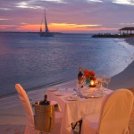 Beach dining at Bonaire's Harbour Village.