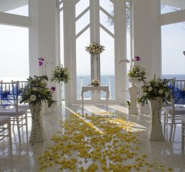 Wedding venue with flowers