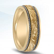 Engraved Men's Two-Tone Wedding Band - NT01707
