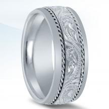 Hand Engraved Men's Wedding Band - N03091