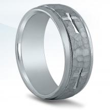 Men's Hammered Cross Wedding Band N16527