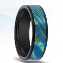 Black Zirconium Wedding Band N17336-7-ZC with MokuTi Inlay