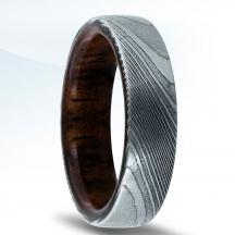 Damascus Steel Wedding Band N17337-6-DSWD with Koa Wood Inlay