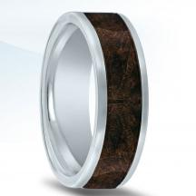 Cobalt Chrome Wedding Band N17339-7.5-COWD with Burl Wood Inlay