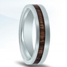 Cobalt Chrome Wedding Band N17340-5.5-COWD with Koa Wood Inlay