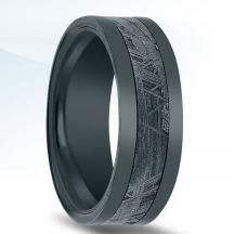 Black Zirconium Wedding Band N17342-8-ZCME with Meteorite Inlay