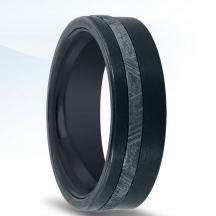 Black Zirconium Wedding Band  N17385-7-ZCME with Meteorite Inlay