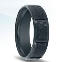 Black Zirconium Hammered Wedding Band N17392-7-ZC