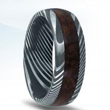 Damascus Steel Wedding Band N17399-8-DSWD with Wood Inlay
