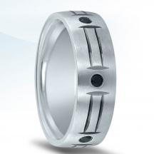 Trending Wedding Band ND01989 with Black Diamonds