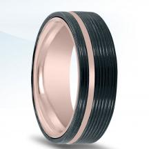 Black Zirconium and Rose Gold Wedding Band NT15018-7.5-ZCFP