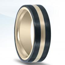 Black Zirconium and Yellow Gold Wedding Band NT15019-7.5-ZCFY