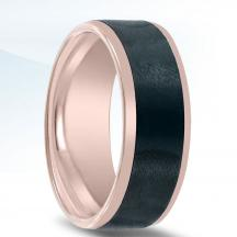 Black Zirconium and Rose Gold Wedding Band NT15020-7-ZCFP
