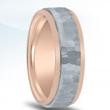 Men's Two-tone Hammered Wedding Band - NT16741