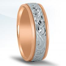 Men's Two-tone Engraved Wedding Band NT16745