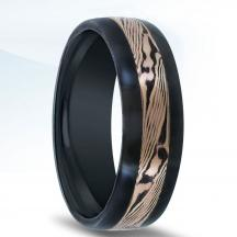 Black Zirconium Wedding Band NT17381-7-ZCFP with Shakudo Mokume-Gane Inlay
