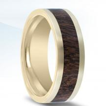 14kt Yellow Gold Wedding Band NT17382-8-FYWD with Mesquite Wood Inlay
