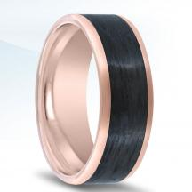 14kt Rose Gold Wedding Band NT17384-8-FPCF with Carbon Fiber Inlay