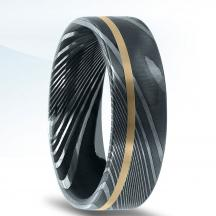 Damascus Steel Wedding Band NT17401-7-DSFY with Offset 14kt Gold Inlay